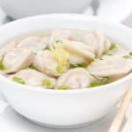 chicken broth with Chinese dumplings, close-up