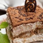 Portion of italian dessert tiramissu